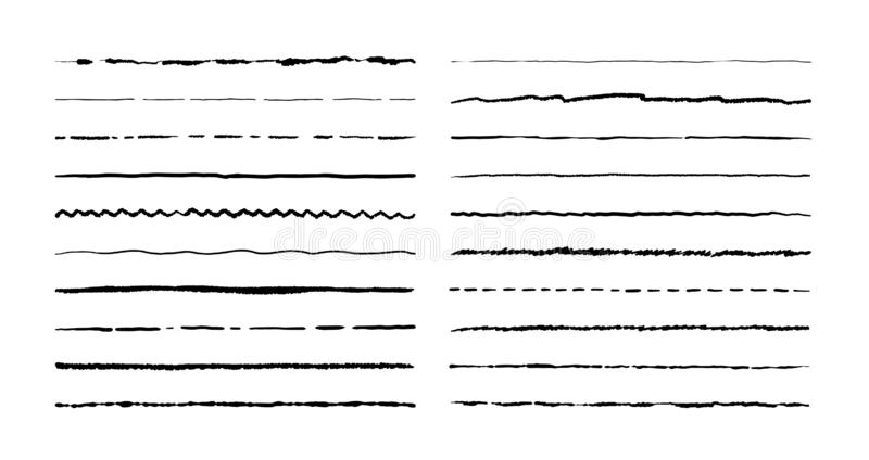 Ręki rysować doodle linie Ołówkowy uderzenia podkreślenia nakreślenie, pióra grunge granicy set, kreskówka ramowi elementy wektor royalty ilustracja