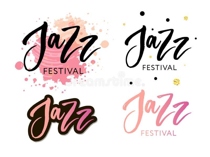 Ręki rysować literowanie wycena o festiwal jazzowy kolekcjach odizolowywać na białym tle Zabawa atramentu wektoru szczotkarska ka ilustracji