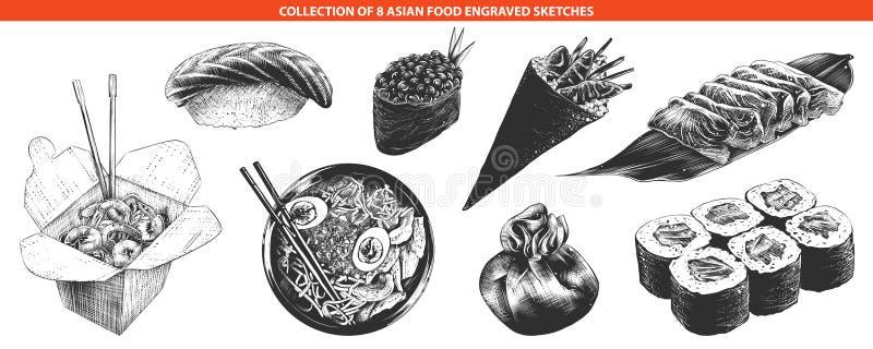 Ręki rysujący nakreślenia odizolowywający na białym tle monochrom ilustracja wektor