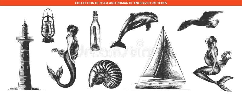 Ręki rysujący nakreślenia w monochrom odizolowywający na białym tle Szczegółowy rocznika woodcut stylu rysunek royalty ilustracja