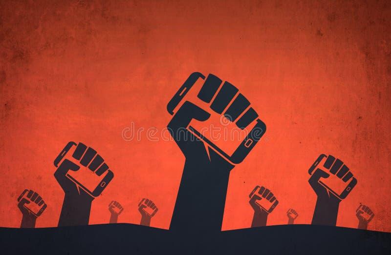 Ręki smartphone rewolucji cyfrowi protesty zdjęcia stock