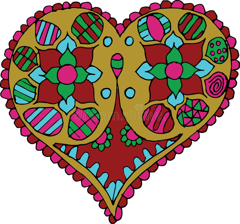 Räcka Artistically utdraget, den zentangle stiliserade hjärtavektorn - färg royaltyfri illustrationer