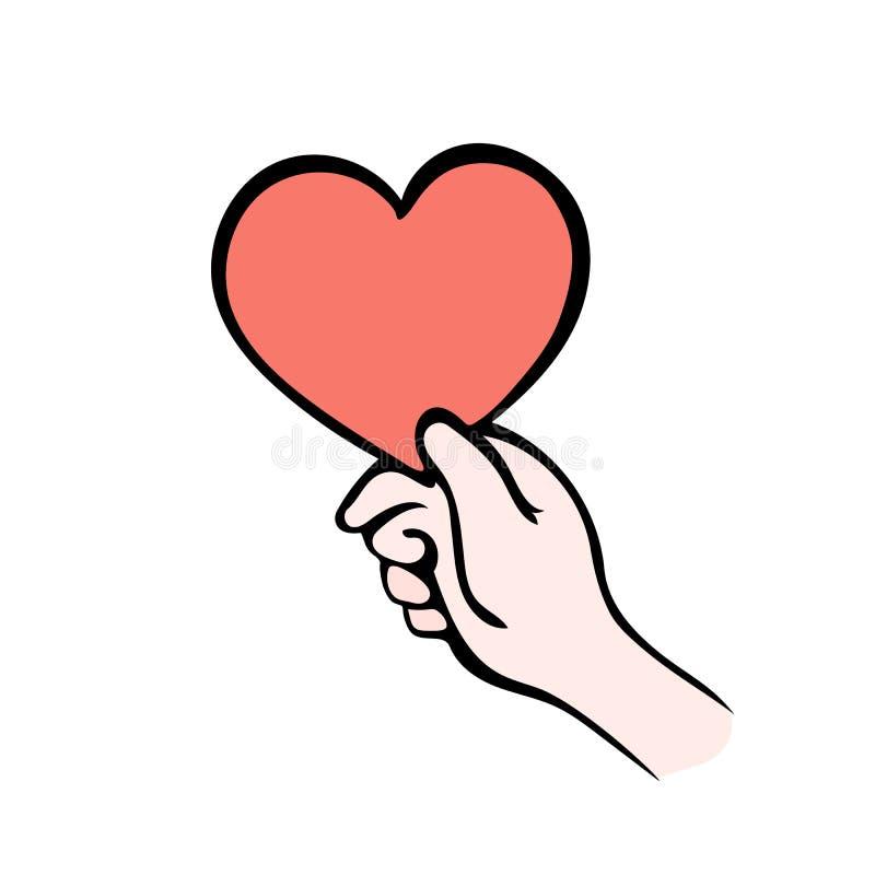 Räcka att ge hjärtasymbol på vit, ge förälskelse stock illustrationer