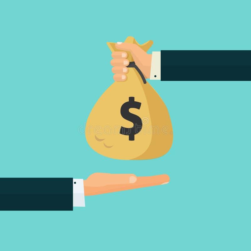 Räcka att ge pengarpåsen till en annan hand, betalning, kreditering, lån royaltyfri illustrationer