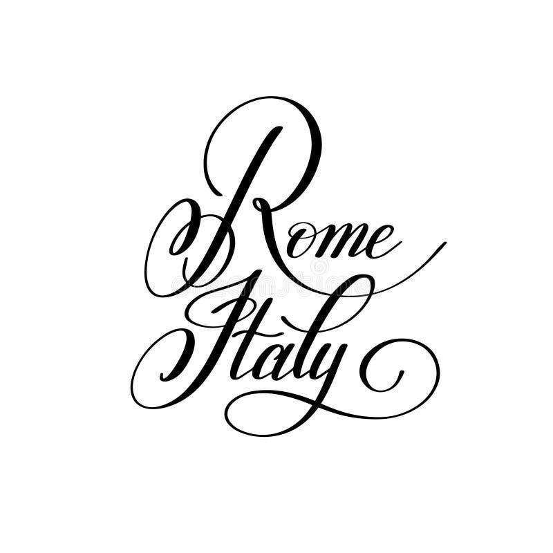 Räcka att märka namnet av den europeiska huvudstaden - Rome Italien royaltyfri illustrationer