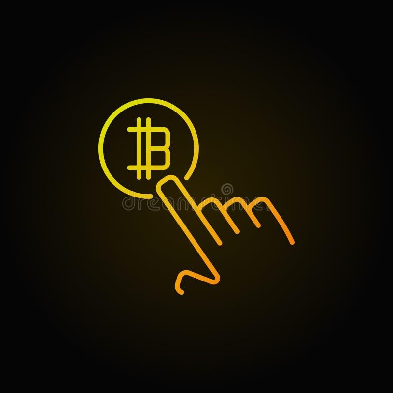Räcka att peka bitcoinvektorbegrepp den färgrika den översiktssymbolen eller loen vektor illustrationer
