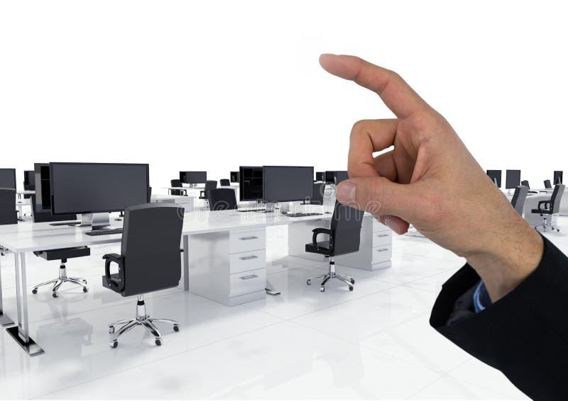 Räcka att peka i luft av datorskrivbordkontoret royaltyfri fotografi