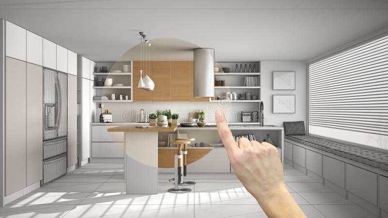 Räcka att peka inredesignprojektet, hemprojektdetaljen och att avgöra på rum som möblerar eller omdanar begrepp, modern träkitc vektor illustrationer