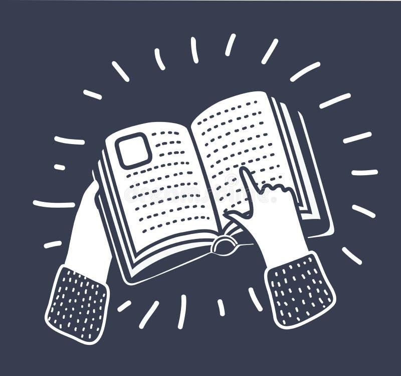 Räcka att peka på en boksymbol, vektorillustration vektor illustrationer