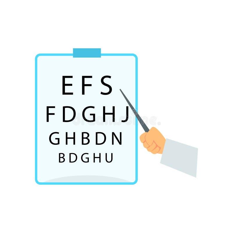 Räcka att peka till tabellen för att testa visuell skärpa, synförmågaprovdiagrammet för illustration för vektor för ögonprovteckn royaltyfri illustrationer