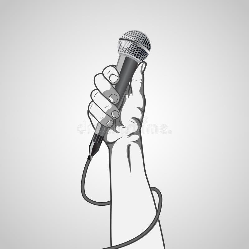 Räcka att rymma en mikrofon i en nävevektor royaltyfri illustrationer