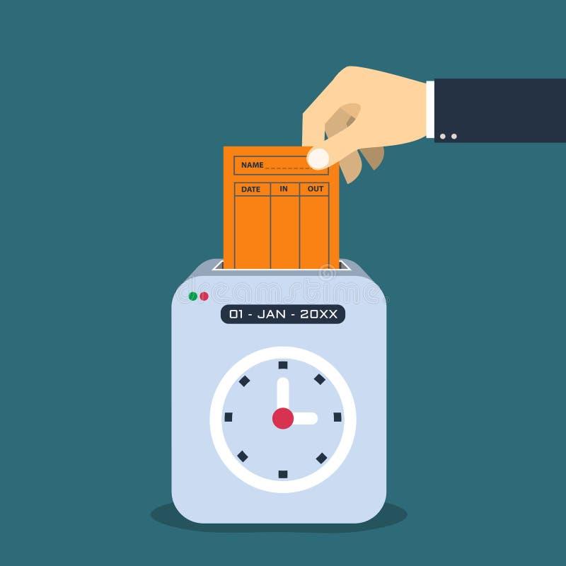 Räcka att sätta det pappers- kortet i maskin för tidregistreringsapparat arkivfoton