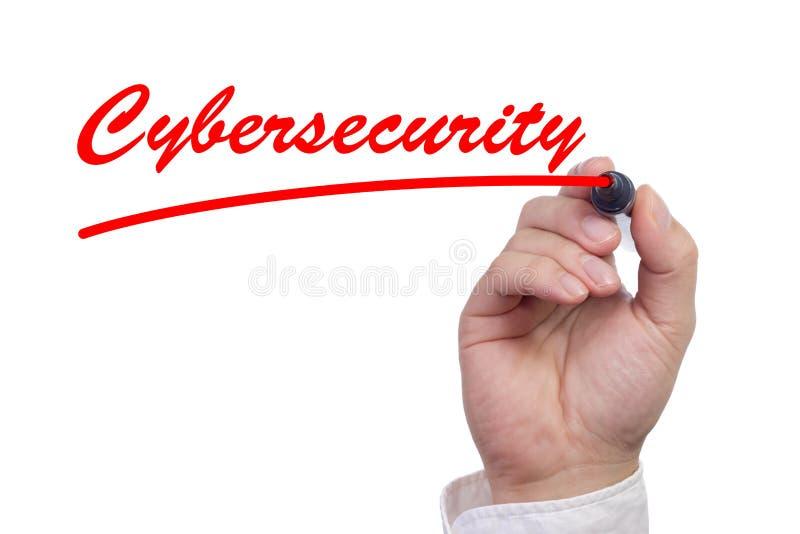Räcka att skriva ordcybersecurityen och understrykning den royaltyfri fotografi