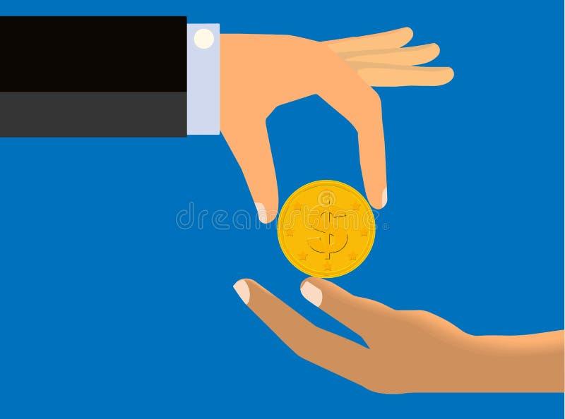Räcka att tappa ett mynt till handen av en annan person vektor illustrationer