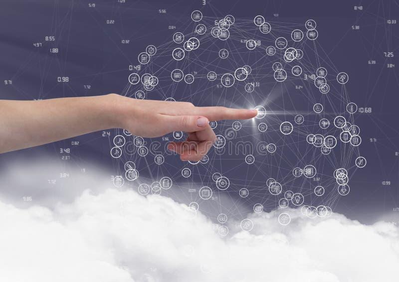 Räcka att trycka på den digitalt frambragda symbolen mot himmelbakgrund stock illustrationer