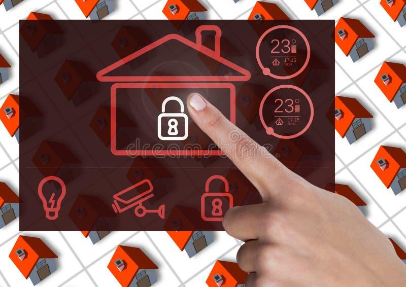 Räcka att trycka på en manöverenhet för system App för hem- automation vektor illustrationer