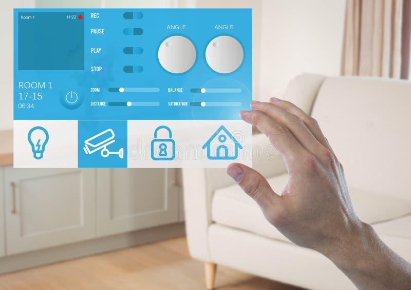 Räcka att trycka på en manöverenhet för system App för hem- automation royaltyfri illustrationer