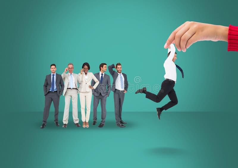 Räcka att välja en man på en grön bakgrund med affärsfolk vektor illustrationer