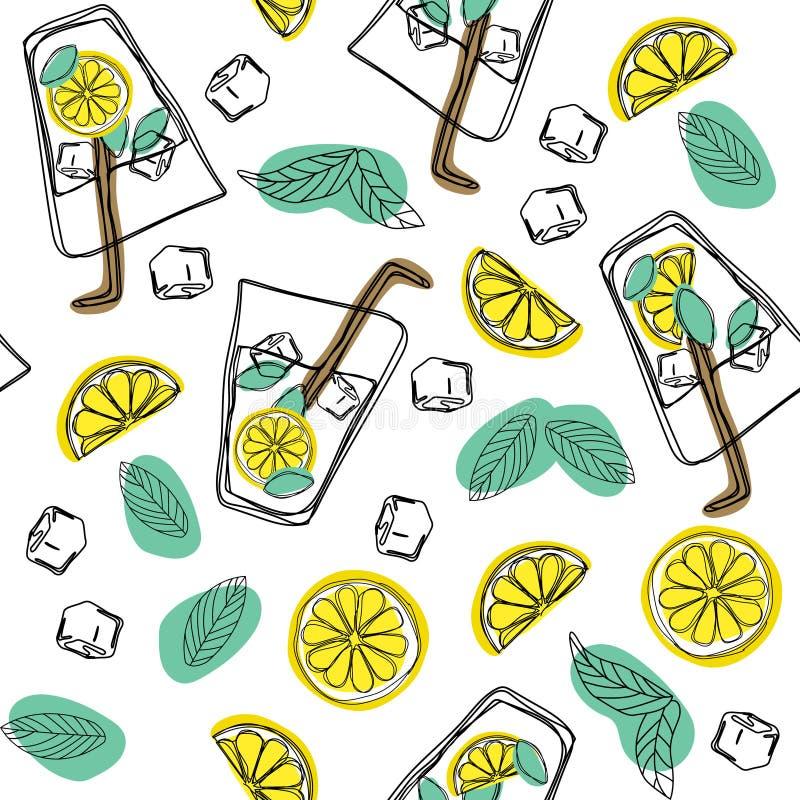 Räcka attraktion sömlöst modellexponeringsglas av mojito, iskuber, mintkaramellsidor, limefruktskiva och hel limefrukt Alkoholcoc vektor illustrationer