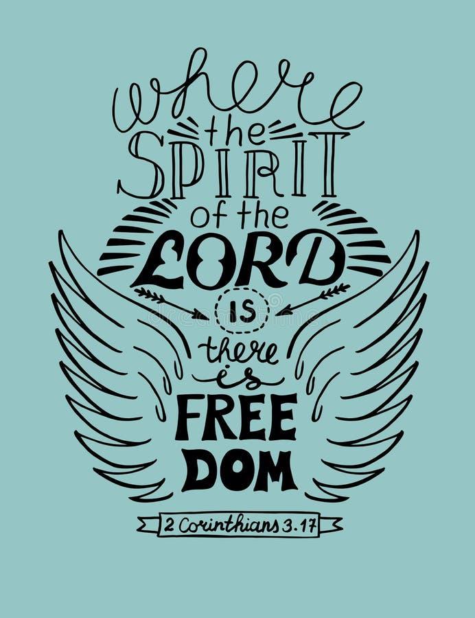 Räcka bokstäver, var anden av Herren är, där är frihet royaltyfri illustrationer