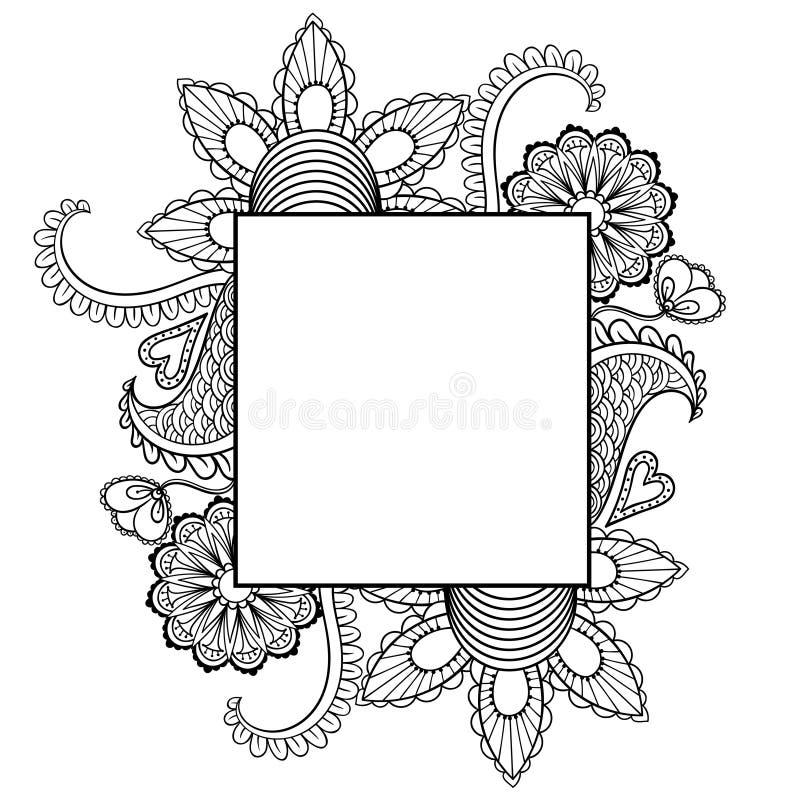 Räcka den drog artistically etniska dekorativa mönstrade blom- ramen vektor illustrationer