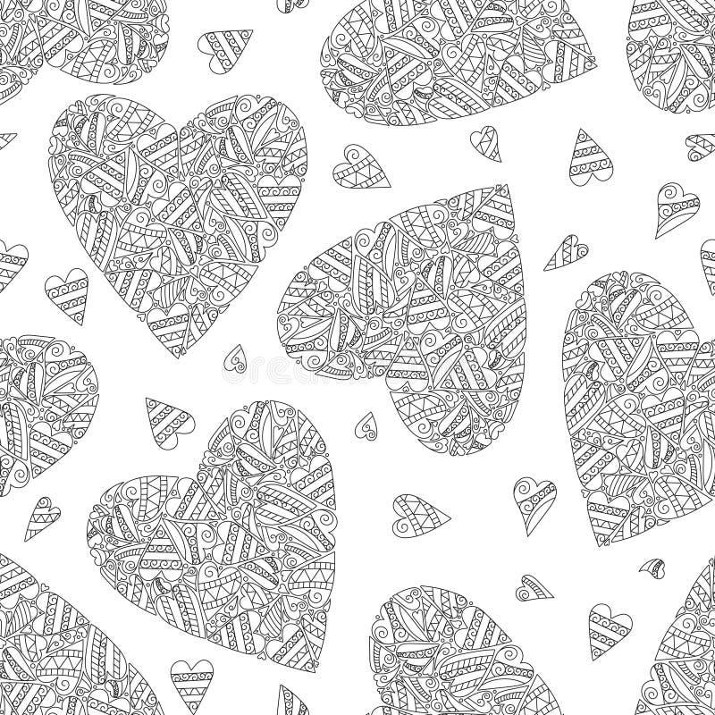 Räcka den drog artistically etniska dekorativa sömlösa modellen med hjärta vektor illustrationer
