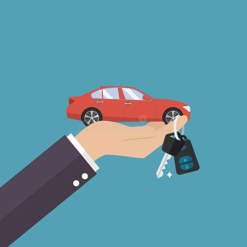 Räcka den hållande bilen gömma i handflatan och stämmer in på fingret royaltyfri illustrationer