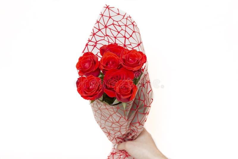 Räcka den hållande buketten av röda rosor över vit bakgrund arkivfoto