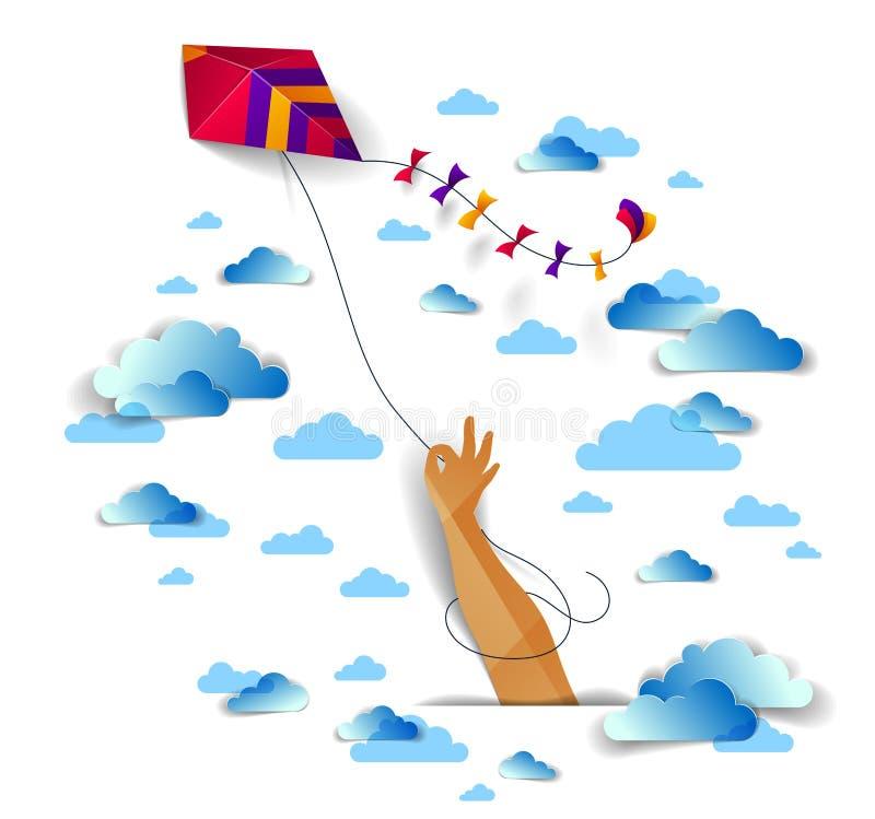 Räcka den hållande draken över det emotionella begreppet för molnig himmel, för frihet och för easiness, för stilpapper för vekto stock illustrationer