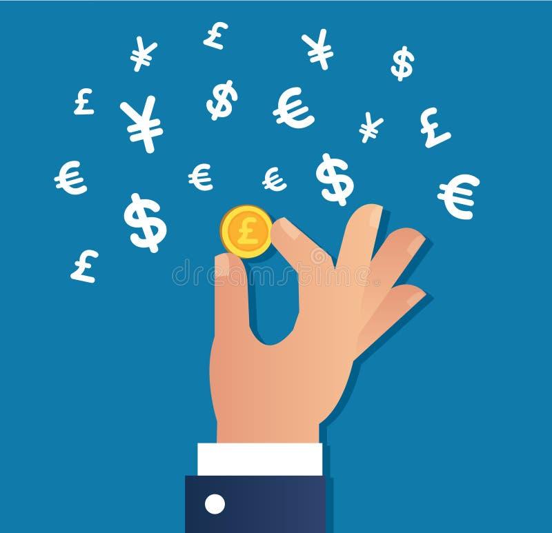 Räcka den hållande guld- vektorn för mynt- och pengarteckensymbolen, affärsidé vektor illustrationer
