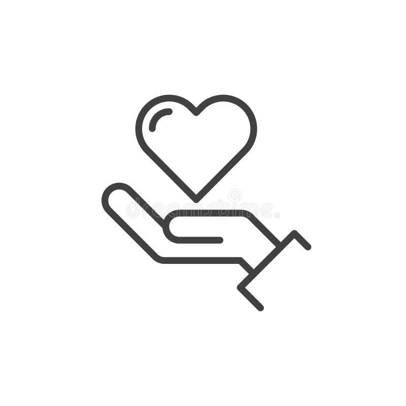 Räcka den hållande hjärtalinjen symbolen, översiktsvektortecknet, den linjära stilpictogramen som isoleras på vit stock illustrationer