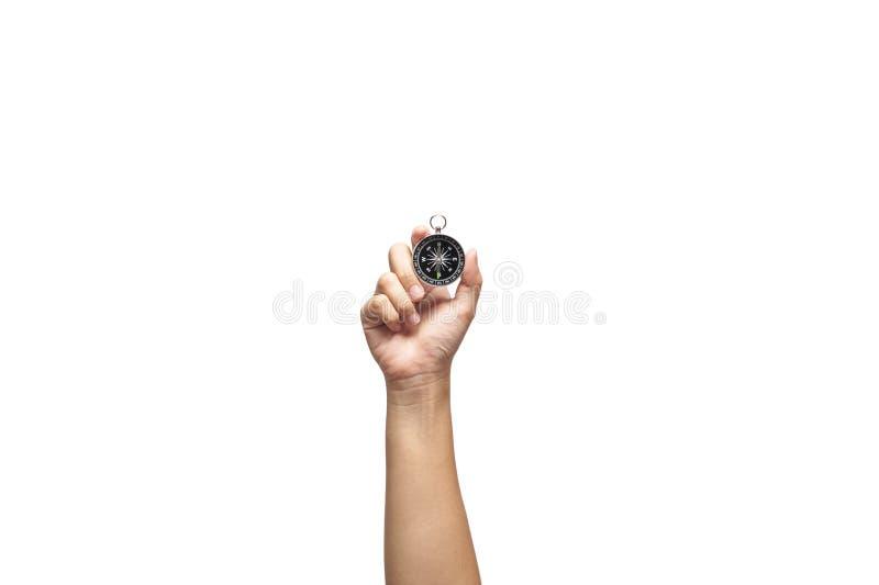 Räcka den hållande kompasset fotografering för bildbyråer