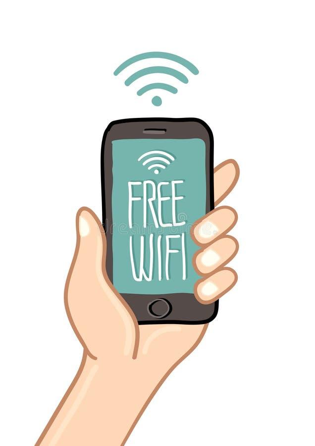 Räcka den hållande mobiltelefonen med det fria tecknet för wi fi stock illustrationer