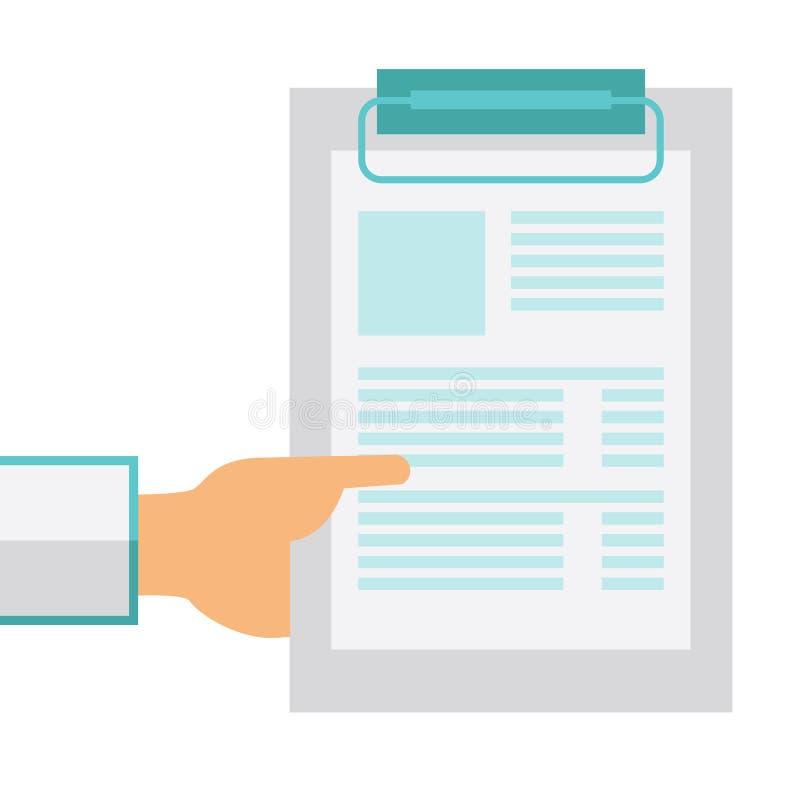 Räcka den hållande skrivplattan med det tomma arket av papper royaltyfri illustrationer
