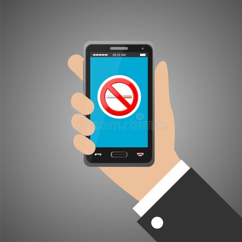 Räcka den hållande smartphonen med inget - röka tecknet royaltyfri illustrationer