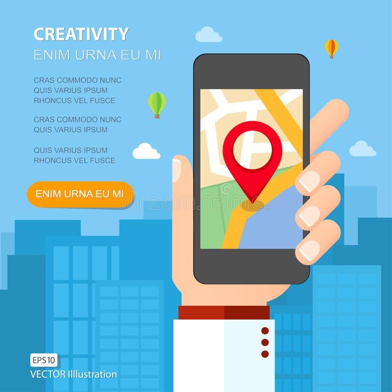 Räcka den hållande smartphonen med mobil gps-navigering på skärmen stock illustrationer