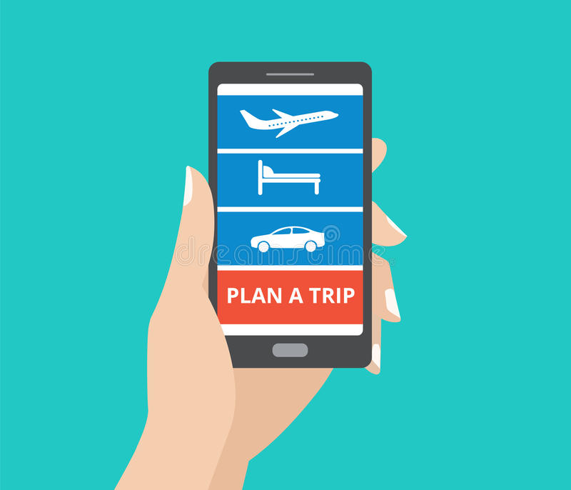 Räcka den hållande smartphonen med symboler för hotell, flyget, bil och planera en turknapp på skärmen vektor illustrationer