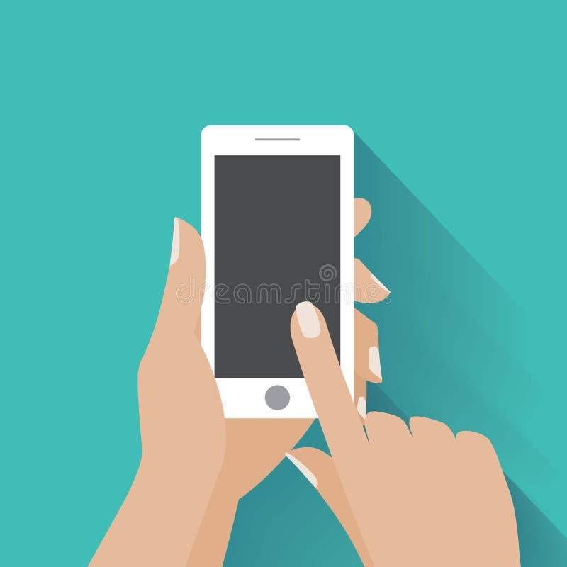 Räcka den hållande smartphonen med tomt avskärmer stock illustrationer