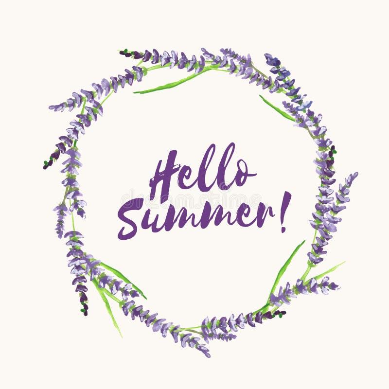 Räcka den målade lavendelkransen, med textHello sommar, illustrationen royaltyfri illustrationer