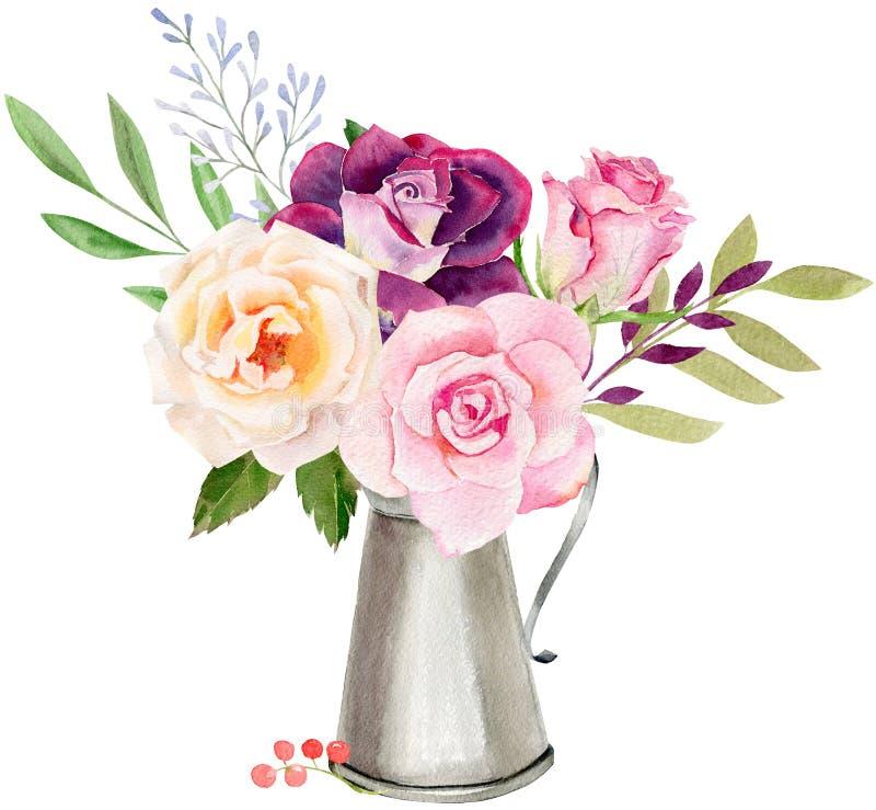 Räcka den målade mallen för vattenfärgmodellclipart av rosor royaltyfri illustrationer
