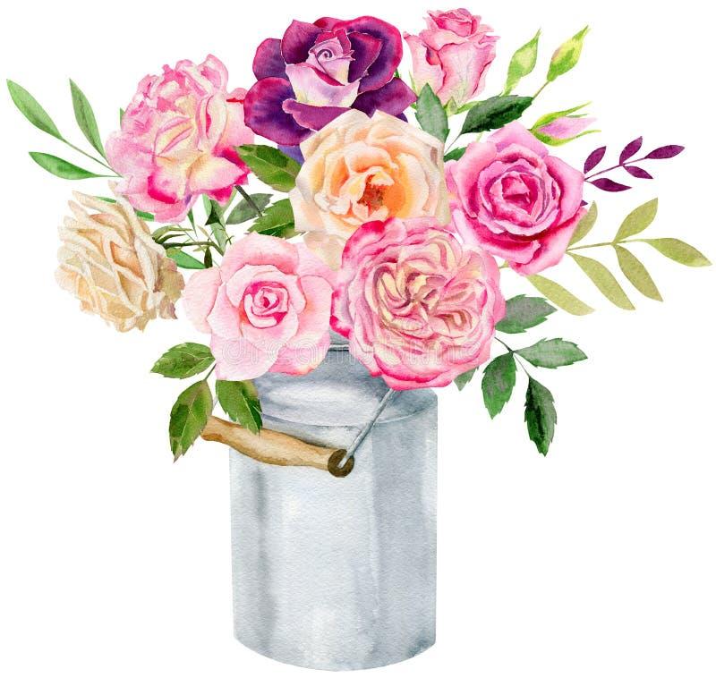 Räcka den målade mallen för vattenfärgmodellclipart av rosor stock illustrationer