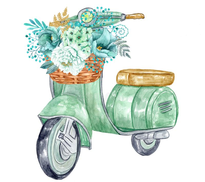 Räcka den målade vattenfärgen den retro sparkcykeln med guld- pionblommor för mintkaramellen vektor illustrationer
