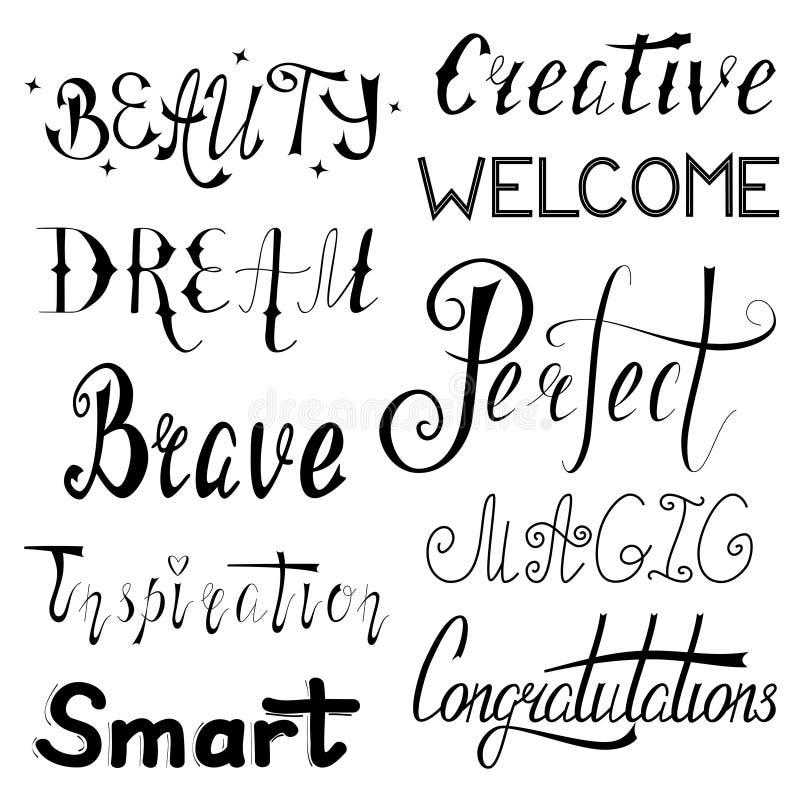 Räcka den skriftliga uppsättningen av inspirerande och motivational ord vektor illustrationer