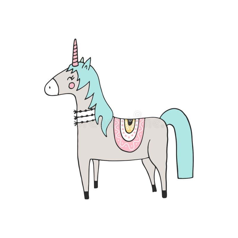 Räcka den utdragna barnkammarefödelsedagaffischen med den magiska enhörningen i scandinavian stil Väggkonst lurar vektorillustrat stock illustrationer