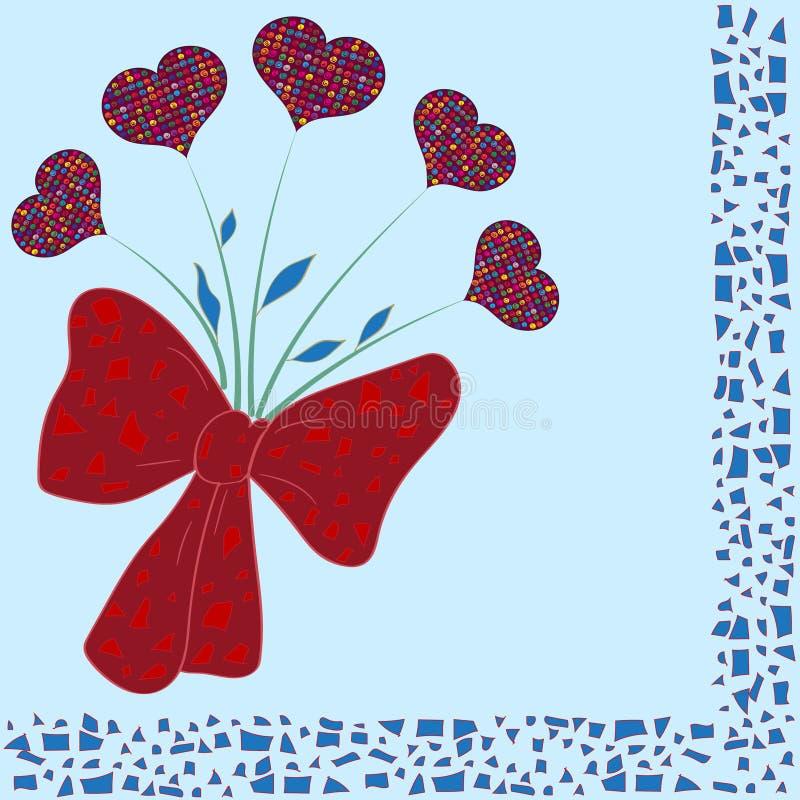 Räcka den utdragna buketten av färgrika hjärtor med dekorativa mosaikbeståndsdelar vektor illustrationer