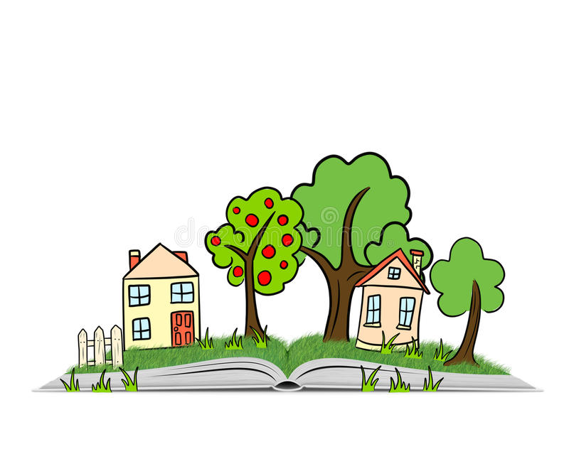 Räcka den utdragna byplatsen med träd, hus och gräs på en öppen bok vektor illustrationer