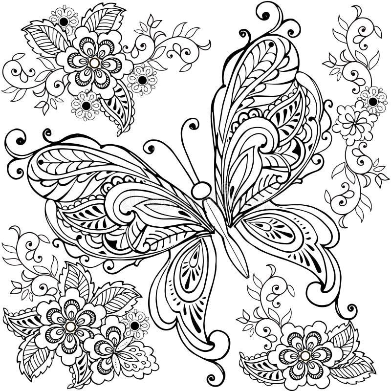 Räcka den utdragna dekorativa fjärilen med blom- för anti-spänningsfärgläggningsidan vektor illustrationer