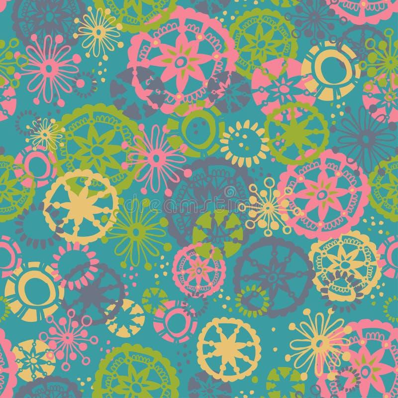 Räcka utdraget blom- seamless mönstrar royaltyfri illustrationer