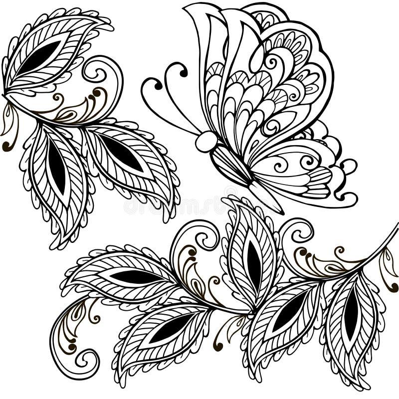 Räcka den utdragna fjärilen och dekorativa sidor vuxna anti-spänningsfärgläggningsidor, t-skjorta tryck Boho hennatatueringdesign stock illustrationer
