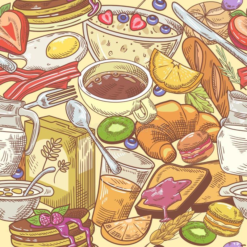 Räcka den utdragna frukosten den sömlösa modellen med gifflet, kaffe och mjölka sund bakgrundsmat vektor illustrationer